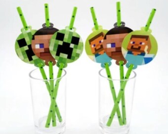 12pc. Minecraft Favor Paper Straws  ~ Birthday Party Supplies Favors