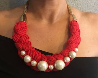 Red Braided Necklace with Pearls