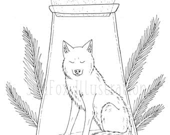 printable download bottled wolf coloring page - Wolf Coloring Book