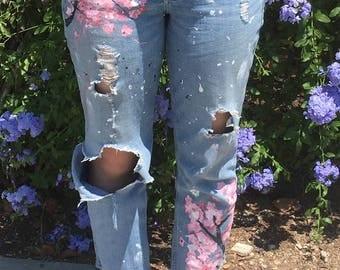 hand painted cherry blossom custom jeans