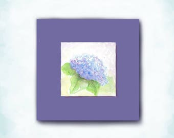 Love for Mom, Birthday Card, Floral Painting, Mini Watercolor, Hydrangea, Handmade Card, Sister, Grandma, Best Friend, Frame for Decor