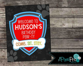 Paw Patrol birthday welcome sign for birthday party, Paw Patrol birthday front door sign, Paw Patrol sign for boy, Paw Patrol birthday party