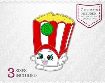Shopkins Poppy Corn Popcorn Applique Machine Design - 2 Sizes - INSTANT DOWNLOAD - Applique, Embroidery, Designs