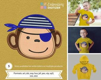 Pirate Monkey Mascot Applique Embroidery Design