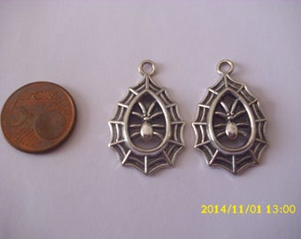 set of 5 charms/20X35mm silver spider pendant