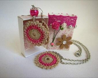 ecru dress / fuchsia crochet in a cute little match box