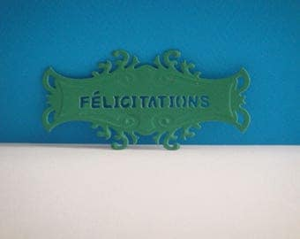"Cut green tag with personalization ""Congratulations"""