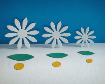 Set of 3 flower Daisy white to create cutouts