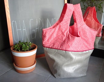 Pink liberty and Silver metallic linen tote bag