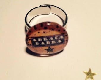 "Beautiful ring adjustable silver Metal Vintage ""Abracadabra"""
