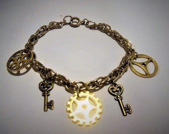 Gears, keys and chain bracelet