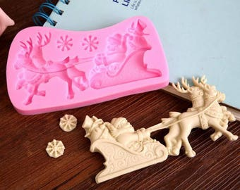 Christmas silicone, Queen and sled for polymer clay mold