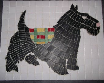 """Scotch Terrier"" painting done in enamels of briare"