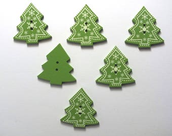 LOT 6 buttons wood: pine Christmas green 31 * 29mm (No.12)