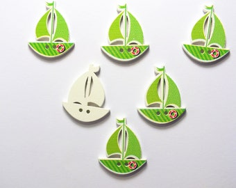 SET of 6 wood buttons: tailed 30 * 25mm