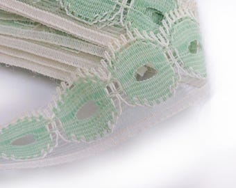 LACE white and Green: width 19mm (06)
