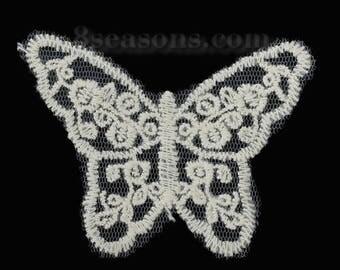 BEIGE lace APPLIQUE: Butterfly 80 * 60mm