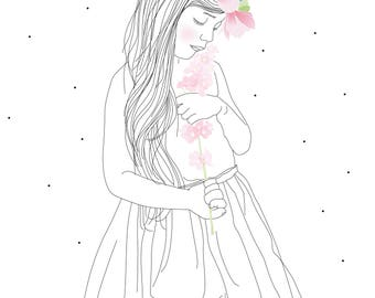Map postcard Hanae, magnolia, kid girl, flower, Victor Hugo