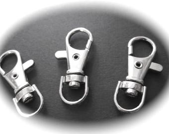 3 CLASPS hooks 37 mm with Swivel rings in silver for creations...