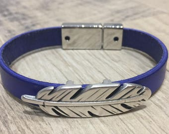 cobalt blue leather feather and magnetic clasp bracelet