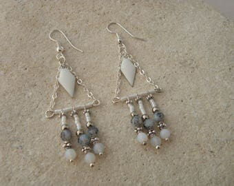 Ethnic earrings white enameled diamond