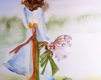 watercolor she goes, beautiful woman original watercolor painting