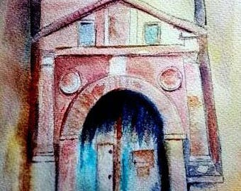 watercolor of the Kasbah door