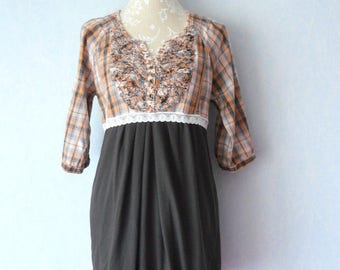 Dress Bohemian beige, orange, grey and Brown Plaid, women size 40, recycled dress