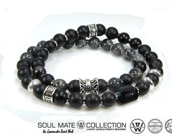 Mens bracelet luxurious Pearl semi precious and 925 sterling silver, men fashion beads charm bracelet