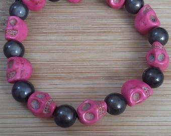 Pink/black skull bracelet