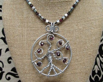 Aluminum Wire and Garnet Tree of LIfe Seed Bead Necklace & Earrings Set