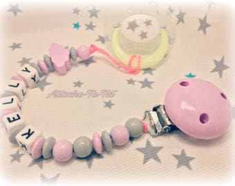 Attach pacifier, pacifier personalized, cloud, pink and gray.