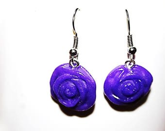 Earrings polymer clay roses