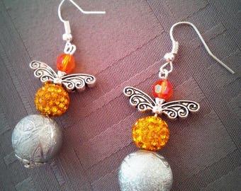 Fancy flight, grey, yellow and orange beads with butterfly wings earrings