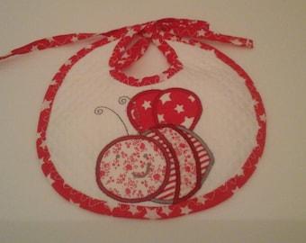 Cotton pique bib in shades of Red