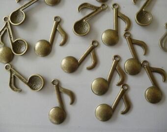 5 charm bronze music note shape