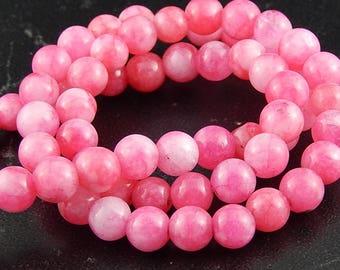 10 jade pink beads 6mm ref 741