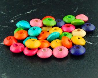 20 wooden 8 X 3.7 mm flat beads