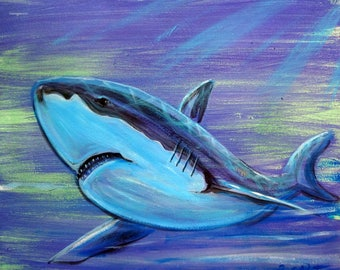 """Shark Hunt Acrylic Painting size 16X20"""" on Canvas, Ready to Hang"""