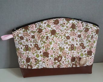 "Vanity case faux leather and fabric ""liberty"", fully lined"
