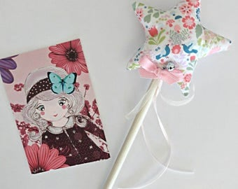 Two-tone fairy star wand / flower and pink bird with Bell in STOCK