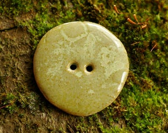Big button sewing green lichen porcelain