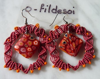 Baroque style macrame earrings