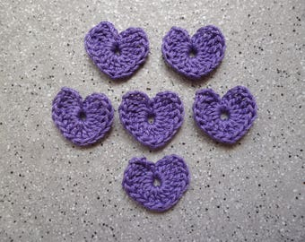 Crochet hearts made by hand in purple cotton