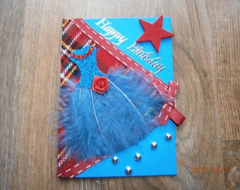 "Birthday card ""happy birthday"", feathers, small collection dress Scottish"