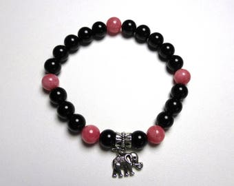 Elephant pink jade and black onyx bracelet