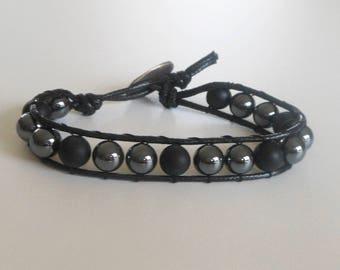 Mens matte black onyx and hematite wrap bracelet