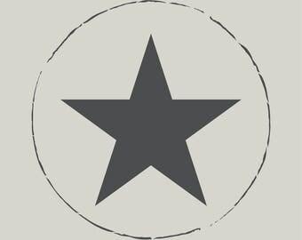 Star. Stenciled star. Adhesive vinyl stencil. (ref 285)