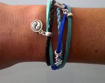 Bracelet multiple threads with attached magnet