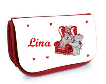 Cosmetic case red /crayons Teddy bear personalized with name